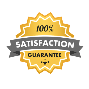 emblem that says 100% satisfaction guarantee